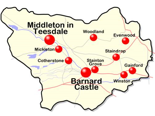 Teesdale Map showing clubs